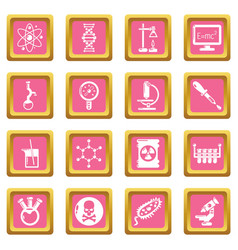 chemistry laboratory icons set pink square vector image