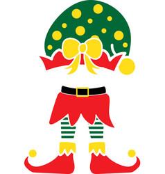 christmas elf green hat elf isolated vector image