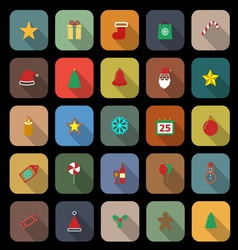 Christmas flat color icons with long shadow vector image