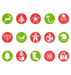 Christmas round button icons set vector