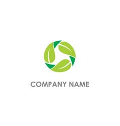 circle leaf organic nature logo vector image