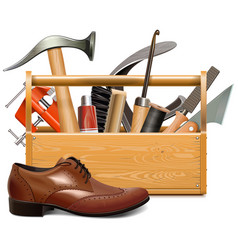Cobbler toolbox with brown shoe vector