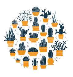 collection of hand-drawn cacti and succulents vector image