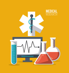 Color poster medical research with star of life vector