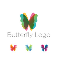 colorful butterfly wings logo set vector image