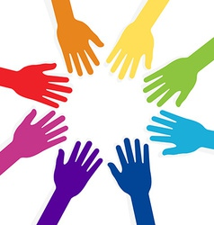 Colorful hands forming shape teamwork vector
