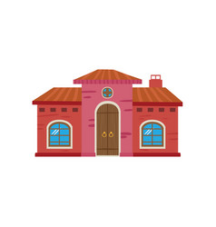 colorful mexican house mexico city facade cartoon vector image
