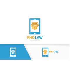 column and phone logo combination pillar vector image