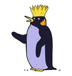 Comic cartoon emperor penguin waving vector