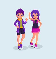 couple kids cartoon character vector image