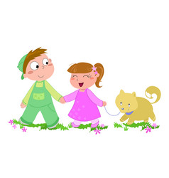 Cute boy girl and dog isolated vector
