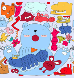 cute colorful monster animal doodle cartoon vector image