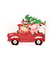 cute farm animals riding truck in winter vector image
