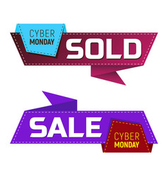 cyber monday sold and sale banners or labels vector image