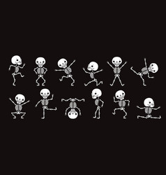 dancing skeletons cute halloween skeleton dancers vector image