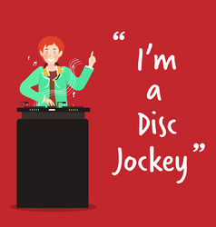 Disc jockey character on red background vector