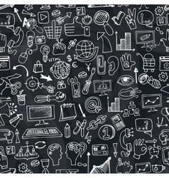 Doodle seo icons in seamless pattern on chalkboard vector image