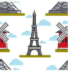 eiffel tower and moulin rouge seamless pattern vector image