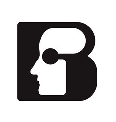English font upper case letter b b logo logotype - vector