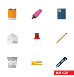 Flat icon stationery set of trashcan marker vector