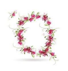 Floral letter Q for your design vector image