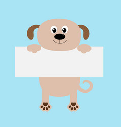 Funny dog hanging on paper board templatebig eyes vector