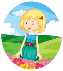 Girl in the meadow vector image