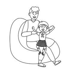 Girl kid school and father design vector