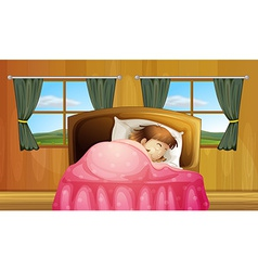 Girl on bed vector