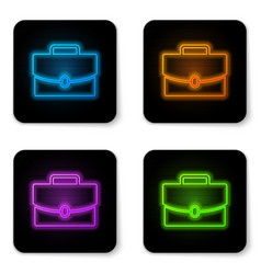 glowing neon briefcase icon isolated on white vector image