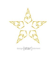 golden star with arrows on white background vector image