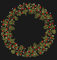 Green white and red christmas wreath isolated vector