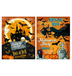 halloween poster for holiday horror party vector image