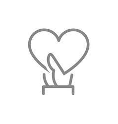 hand holds big heart line icon share a love like vector image