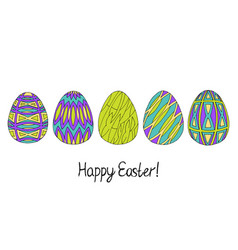 happy easter egg sketch collection in green vector image