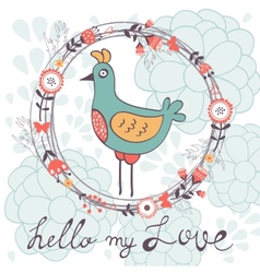 Hello my love card with cute funny bird vector