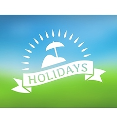 Holidays ribbon icon on nature background vector image