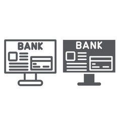 internet banking line and glyph icon finance and vector image
