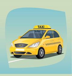 Isolated yellow taxi car vector