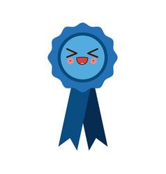 kawaii badge with ribbons winner medal vector image