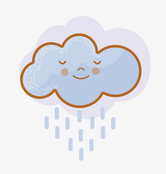 Kawaii tranquil cloud raining icon vector