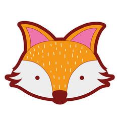 Line color cute fox head wild animal vector