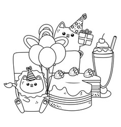 Lion and cat in happy birthday celebration vector