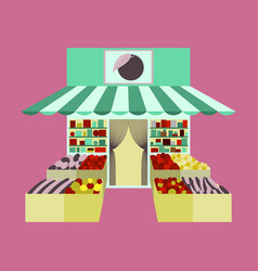 Local fruit and vegetables store building vector
