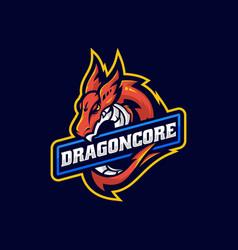 logo dragon e sport and sport style vector image