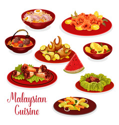 Malaysian cuisine dinner menu icon with asian food vector