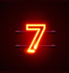 Neon city font sign number 7 signboard seven vector