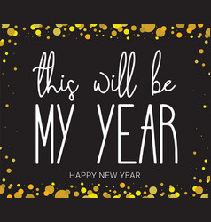 new year wish hand lettering calligraphy isolated vector image