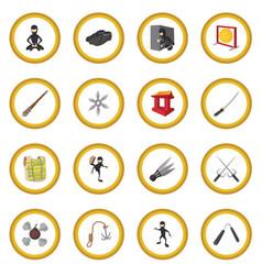 ninja cartoon icon circle vector image