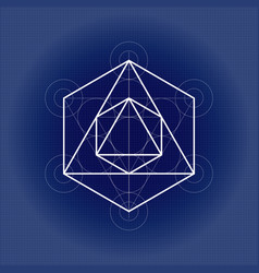 Octahedron from metatrons cube sacred geometry vector